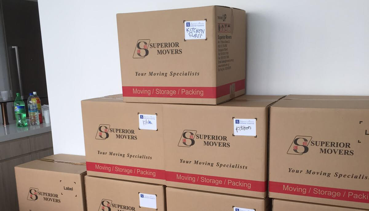 The cartons of items packed by Superior Movers for re-location